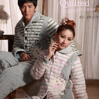 Autumn and winter lovers sleepwear thickening coral fleece cotton-padded sleep set at home service