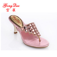 New 2014 rhinestone sandals genuine leather summer flip-flop sandals clamping jaw slippers fashion luxurious women's shoes