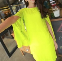 2013 spring and summer candy elegant placketing neon color chiffon one-piece dress short skirt slim