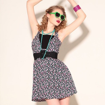 2013 New VANCL Women Mini Dress Comfortable Stylish Cotton Floral Mini Dress Shoulder Straps Flower Print Black FREE SHIPPING