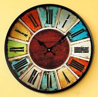 Fashion Vintage Silent  Retro Metal Art Wall Clocks Black Iron Frame Home Decorative Gifts Free Shipping