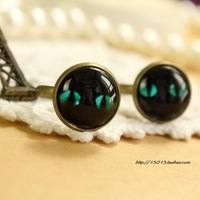 Pruee milk vintage diy stud earring earrings ring time gem plaid pavans cat-eye