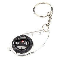 Free Shipping 10pcs/Lot Mini Multi-function Portable Camp Compass with Ruler Keychain