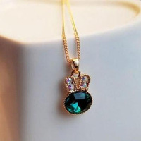 Accessories green onrabbit full rhinestone rabbit crystal necklace