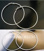 Wholesale Free Shipping 72pcs(36pairs) 50 60 70mm Silver Plated 316L Surgical Steel Fashion Earring Big Hoop Earring
