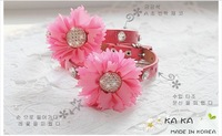 luxury Bling dog puppy collars with big flower rhinestones buckle and rivets S M