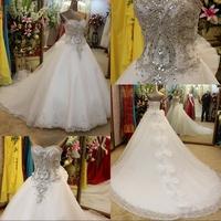 2014 New Vestido De Noiva Vestido De Festa Longo Dmr028 Dreamaker Back Glass Crystal Shinining Vintage Wedding Dresses In China