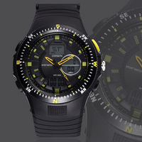 Ohsen Brand New Men's Silicone Analog digital sports watch Wrist Watch Black fashion waterproof military watches free shipping