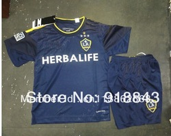 2013/14 season Los Angeles Galaxy Away Blue kids soccer football jerseys + shorts kits,children soccer uniforms ,Free shipping(China (Mainland))