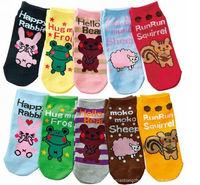 kids baby straights socks fit 1-3yrs girls boys children cotton slip socks infant cartoon socks 20pairs/lot 10 style