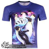 Plus size S-5XL 3D animal penguin printed cheap short sleeve o-neck novelty T-shirt men's clothing  TCQ256