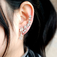 Min order is $10 2013 Cheap Fashion Women Flower Gold Silver Cuff Earrings Korean Rhinestone ear line no pierced ear clip