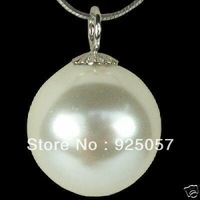 14MM White Sea Shell Pearl Pendant Necklace