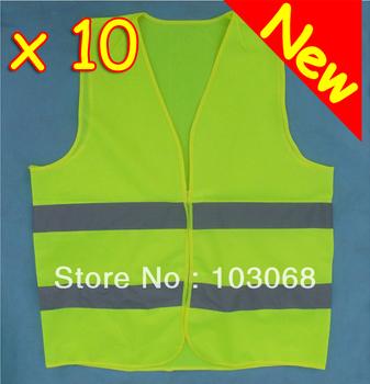 New arrival Hot Sale 10 HI VIS HIGH VISIBILITY SAFETY VEST WAISTCOAT FOR TRAVEL KIT  EN71