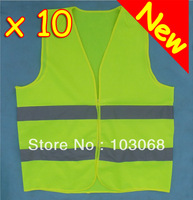 New arrival Hot Sale 10 HI VIS HIGH VISIBILITY SAFETY VEST WAISTCOAT FOR TRAVEL KIT  EN71