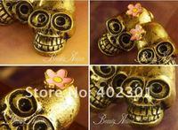 12pcs/LOT Free Shipping wholesale Fashion Punk Skull flower  earring Cute Lovely