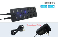 Free shipping Black 13 Ports USB 2.0 High Speed HUB With led indication with 5v/5A power adapter  ON/OFF Switch