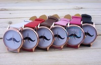 Fashion Women Casual Moustache Face girls Leather Watch beard Wrist Watch 8 Styles
