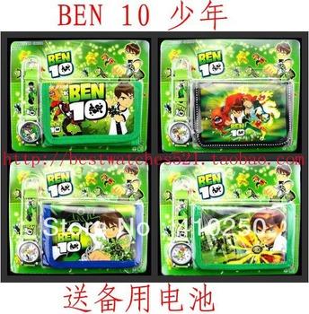 2013 Ben 10 Cartoon Child Quartz Wrist Watch/Clock with One Purse/Wallet/Pocket for Boys, Kids, Children Birthday Gift
