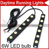 High Power Auto Car DIY 2X 6 LED 12W White Tiny Daytime Running Light Driving DRL Fog Lamp Waterproof