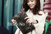 New Fashion women's handbag leopard print paillette bag clutch bag evening party bags Free Shipping