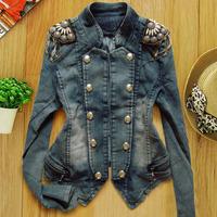 Free shipping! The new Korean version of Women long-sleeved denim jacket women short coat epaulet decoration