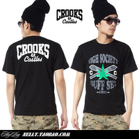 free shipping  2013 Crooks castles weed male short-sleeve t shirt hiphop hip-hop short-sleeve T-shirt