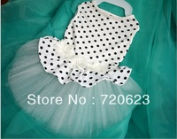Free Shipping 2013 Dog Pet Clothing Dog Clothes Coats White Dot Dog dress Skirt