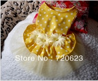 Free shipping 2013 Dog clothes Clothing Yellow Dot Dog Doats Dress Skirt Vest