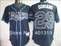 free shipping MLB Tampa Bay Rays #29 soriand baseball jerseys color dark blue size 48-56(China (Mainland))