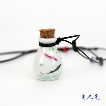 Sweets porcelain ceramic eggshell applique wishing bottle necklace vintage perfume bottle