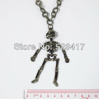 Free ship holloween corpse skull  pendant goth punk rock rough chain necklace men stylish necklace heavy metal hip pop necklace