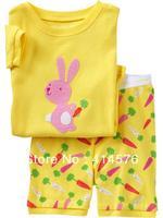 Горящее! Дети Мужская с коротким рукавом Pajamas100% хлопок ребра с кроликом на и Красочные Морковь в Брюки для 6 комплектов / серия (6 размеров)