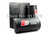 one pair New Genuine carton fiber headrest neck pillow for A.udi sline car Pillow travel neck rest Free shipping Wholesale