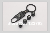 Car Wheel Airtight Tyre Tire Stem Black Air Cap And Keychain For Mercedes Benz