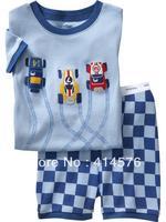 Мальчики / Девочки Синий с коротким рукавом мультфильм гоночный автомобиль пижамы костюм младенца дети пижама 100% хлопок 6 комплектов / серия (6 размер)