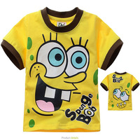 Free Shipping 6 pcs lot 2013 New Fashion Summer Kids Boy Sport Cartoon Sponge Bob Printed Short Sleeves Yellow Cotton T Shirt