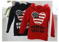 4pcs girls boys mickey sweatshirts hoody childrens long sleeve navyblue USA flag hoodies top clothes tops clothes free shipping