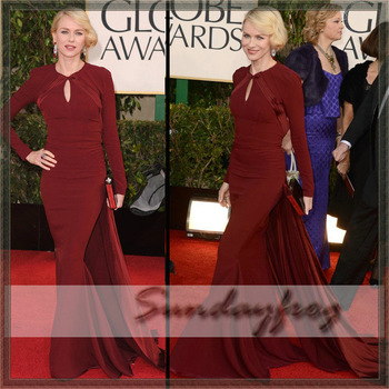 Free Shipping Custom Made Naomi Watts Mermaid Long Sleeve Backless Panel Train Golden Globe Red Carpet Celebrity Dress