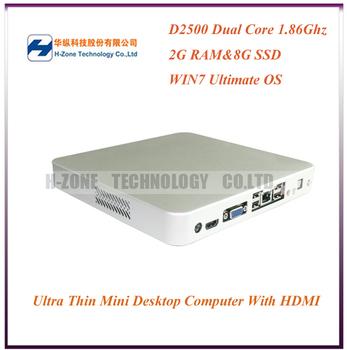 Freeshipping Super Power Mini Desktop PC Computer With Intel Atom Dual Core D2550 1.86Ghz 2G RAM 8G SSD WIN7 OS WIFI HDMI