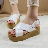 Soft leather cross straps hasp platform wedges sandals female shoes