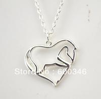 free ship 10pcs a lot fashion animal heart shape horse pendant necklace (A105897)
