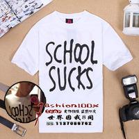 Free shipping School 2013 sucks print logo high quality male short-sleeve tee shirt