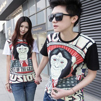 Free shipping Les colorant match men's short-sleeve t-shirt male personality summer t men's clothing 2013