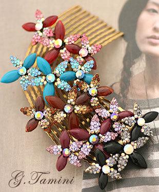 Small flower bronze three color royal vintage Medium insert comb hair accessory h42(China (Mainland))