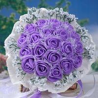 20PCS High Quality PE Purple rose flower Diameter 33-35 cm Bride or Bridesmaid wedding bouquets Free shipping BF2123