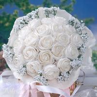 20PCS High Quality PE white rose flower Diameter 33-35 cm Bride or Bridesmaid wedding bouquets Free shipping BF2122