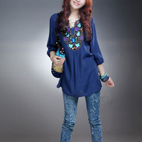 Fashion chinese national embroidery flowers big size hot sale one-piece dress Free shipping