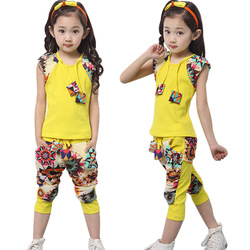Children's clothing female child summer 2013 medium-large child baby trend national sports set clothes(China (Mainland))
