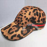 popular leopard print fabric genuine leather benn baseball cap male women's hat casual hat